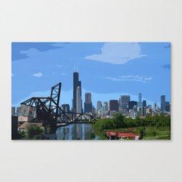 Chicago Skyline and Train Yard Canvas Print