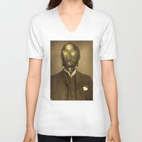 robot V-neck T-shirts featuring Baron Von Three PO  by Terry Fan