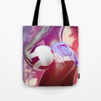 volleyball Tote Bags featuring Beach volleyball girl sexy by Swagnation Dopetribe