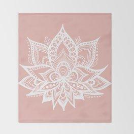 White Lotus Flower on Rose Gold Throw Blanket
