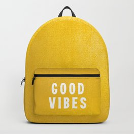 Sunny Yellow and White Distressed Effect Good Vibes Backpack