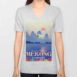 Mekong Cambodia vacation poster. Unisex V-Neck