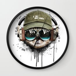 Watercolor cat listening a music illustration. Wall Clock