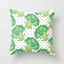 Broccoli on Green dotted Background Throw Pillow