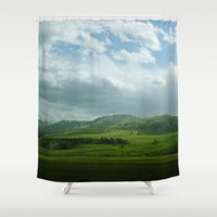 kendrick lamar Shower Curtains featuring lamar valley by Sarah Stewart