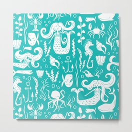 Under The Sea Aqua Metal Print