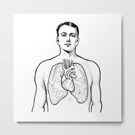 Vintage 1909 Lungs for Pulmonology, Respiratory Therapist Metal Print
