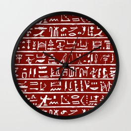 Egyptian Hieroglyphics // Burgundy Wall Clock