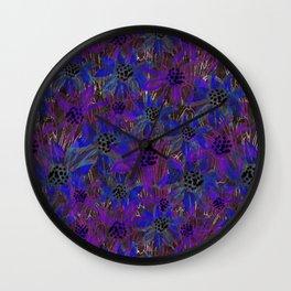 Cobalt Gazania Wall Clock