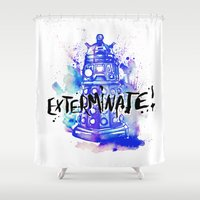 dalek Shower Curtains featuring Doctor Who Dalek by Jessi Adrignola
