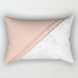Modern stylish rose gold glitter geometric stripes blush pink white marble color block Rectangular Pillow
