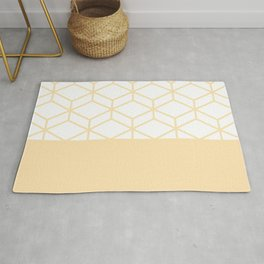 Geometric Honeycomb Lattice Color Block Pattern in Buttercream and White Rug
