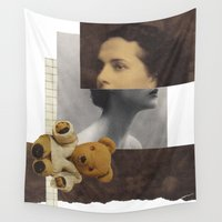 teddy bear Wall Tapestries featuring Teddy by KatinkaHanselman