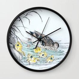 Duck And Ducklings Swimming In Lake - Vintage Japanese Woodblock Print Art Wall Clock