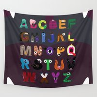 letters Wall Tapestries featuring Letters Monsters by Darish