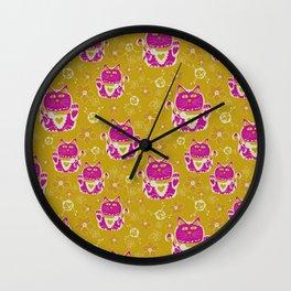Oriental happy lucky cats Wall Clock