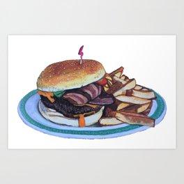Bacon Cheeseburger and Fries Art Print