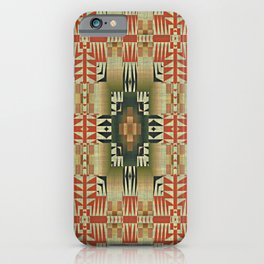 Orange Red Olive Green Native American Indian Mosaic Pattern iPhone Case
