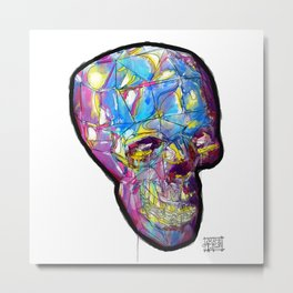 Painted Skull Metal Print