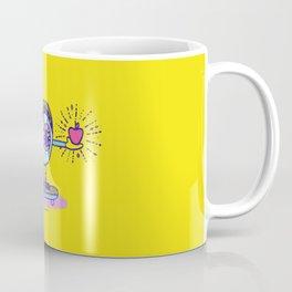 Apple of my Eye Idiom with Yellow Background Coffee Mug