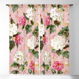 Vintage green pink white bohemian hortensia flowers Blackout Curtain