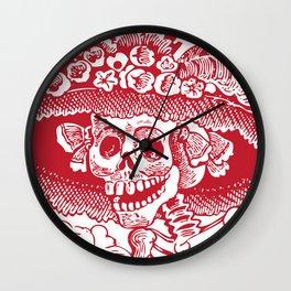 Calavera Catrina | Red and White Wall Clock