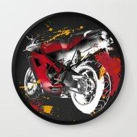 ducati Wall Clocks featuring Ducati 1098 Color Spots by Larsson Stevensem