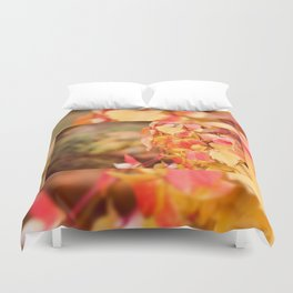 vine red yellow leaves abstract Duvet Cover