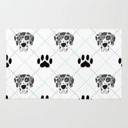Merle Great Dane Paw Print Pattern Rug