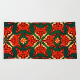 Fox Cross geometric pattern Beach Towel