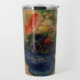 """Odilon Redon """"Flowers in a Blue Cup (Fleurs dans une coupe bleue)"""" Travel Mug"""
