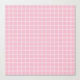 Orchid pink - pink color - White Lines Grid Pattern Canvas Print