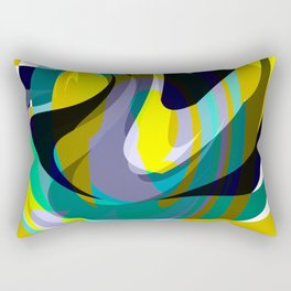 Orb, Abstract geometric Print in Blues Chartreuse & yellows Rectangular Pillow