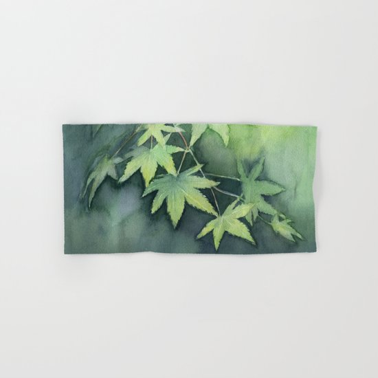 Japanese Maple Watercolor Green Leaves Tree Branch Nature Hand & Bath Towel