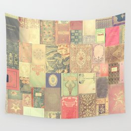 Dream with Books - Love of Reading Bookshelf Collage Wall Tapestry