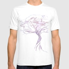 Quiet Acacia Zen Tree , Earthy African Bonsai Peace Lavendar Purple SMALL Mens Fitted Tee White
