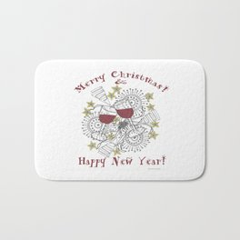 Merry Christmas & Happy New Year - Zentangle Illustration Bath Mat
