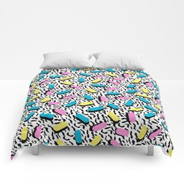 Poppin - memphis throwback retro 1980s 80s style classic trendy hipster pattern bright neon dorm Comforters