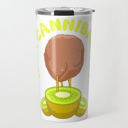 Funny Kiwi Cannibalism Pun Adorable Animal Fruit Travel Mug