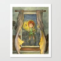 peter pan Canvas Prints featuring Peter Pan by Allyson Kelley