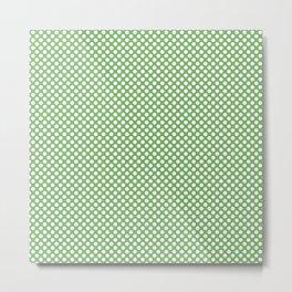 Grass Green and White Polka Dots Metal Print