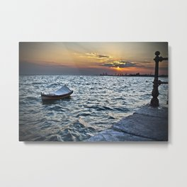 The Boat and the Sunset Metal Print