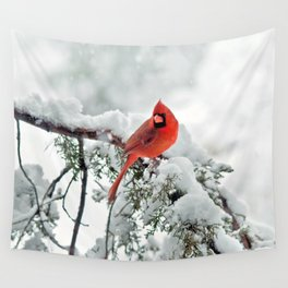 Cardinal on Snowy Branch #2 Wall Tapestry