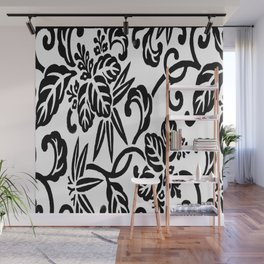 Japanese Floral White & Black Wall Mural