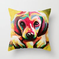 puppy Throw Pillows featuring Puppy by stepanka hejlova