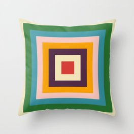 Retro Colored Square Space Throw Pillow