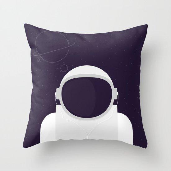 Astronaut is listening music Throw Pillow