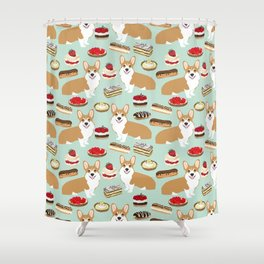 Corgi Patisserie Bakery French Parisian food, tarts, eclair, napoleon, cute food design Shower Curtain