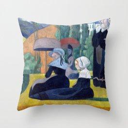 Emile Bernard Breton Women with Umbrellas Throw Pillow