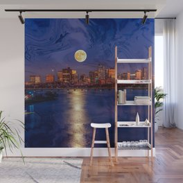 Moon light night, Boston MA Wall Mural